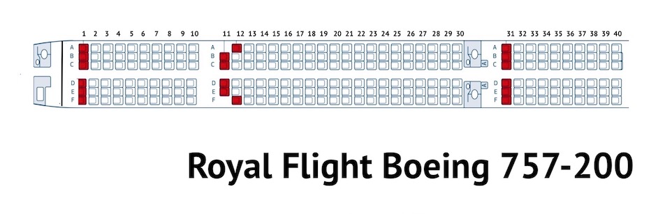 Boeing 757-200 схема салона Royal Flight